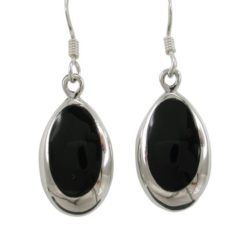 Sterling Silver 17x10mm Oval Black Onyx Drop Earrings