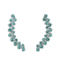 Sterling Silver 20x4mm Aqua Crystal Up The Ear Earrings