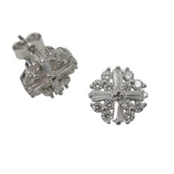 Sterling Silver 8mm White Cubic Zirconia Stud Earrings
