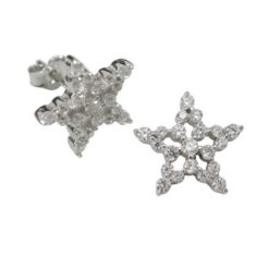 Sterling Silver 11mm White Cubic Zirconia Star Stud Earrings