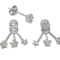 Sterling Silver 4mm Star White Cubic Zirconia & 14mm Behind Lobe Dangle Stud Earrings