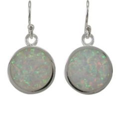 Sterling Silver 12mm Round White Synthetic Opal Drop Earrings