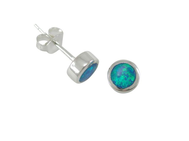 Sterling Silver 6mm Round Blue Synthetic Opal Stud Earrings