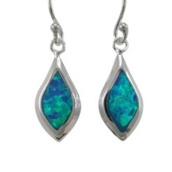 Sterling Silver 14x7mm Teardrop Blue Synthetic Opal Drop Earrings