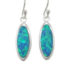 Sterling Silver 15x6mm Oval Blue Synthetic Opal Drop Earrings