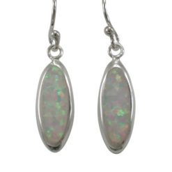 Sterling Silver 15x6mm Oval White Synthetic Opal Drop Earrings