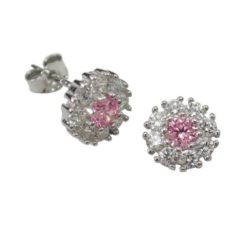 Sterling Silver 8mm Pink & White Cubic Zirconia Stud Earrings