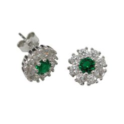 Sterling Silver 8mm Green & White Cubic Zirconia Stud Earrings