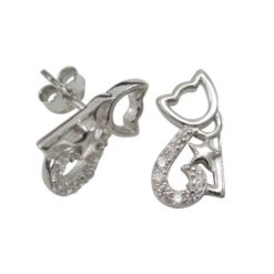 Sterling Silver 12x7mm White Cubic Zirconia Cat Stud Earrings
