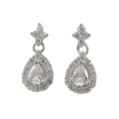 Sterling Silver 12x6mm White Cubic Zirconia Teardrop Stud Earrings