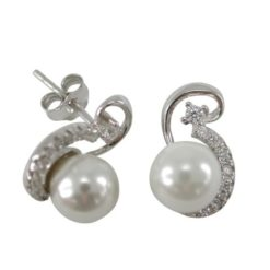 Sterling Silver 12x7mm Created Pearl & White Cubic Zirconia Stud Earrings