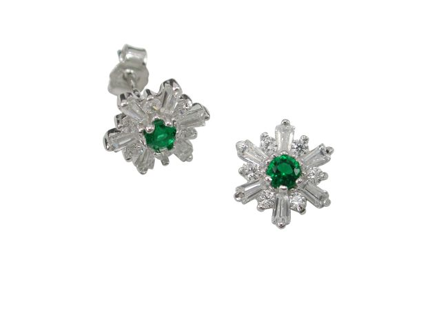 Sterling Silver 9mm Green & White Cubic Zirconia Stud Earrings