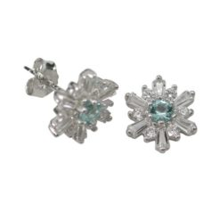 Sterling Silver 9mm Aqua & White Cubic Zirconia Stud Earrings