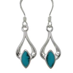 Sterling Silver 18x10mm Blue Turquoise Drop Earrings
