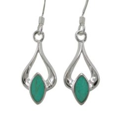 Sterling Silver 18x10mm Green Turquoise Drop Earrings