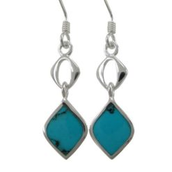 Sterling Silver 20x8mm Blue Turquoise Drop Earrings