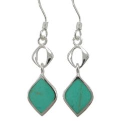 Sterling Silver 20x8mm Green Turquoise Drop Earrings