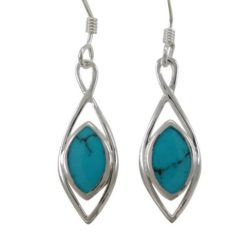 Sterling Silver 22x8mm Marquise Blue Turquoise Drop Earrings