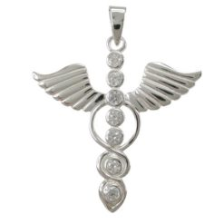 Sterling Silver 35x37mm White Cubic Zirconia Seven Chakra & Wings Pendant