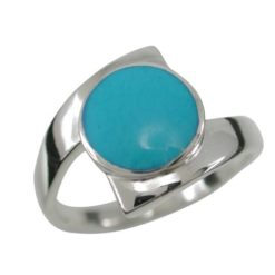 Sterling Silver 13mm Round Blue Turquoise Crossover Ring