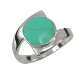 Sterling Silver 13mm Round Green Turquoise Crossover Ring