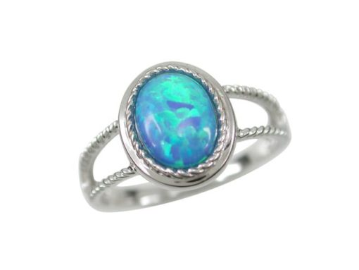 Sterling Silver 12mm Oval Blue Synthetic Opal Ring