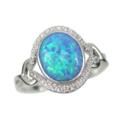 Sterling Silver 14mm Oval Blue Synthetic Opal & White Cubic Zirconia Ring