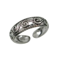 Sterling Silver 5mm Scroll Pattern Toe Ring