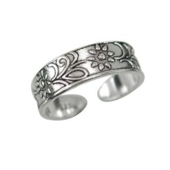 Sterling Silver 5mm Flowers Toe Ring