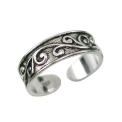 Sterling Silver 5.5mm Floral Scrolls Toe Ring