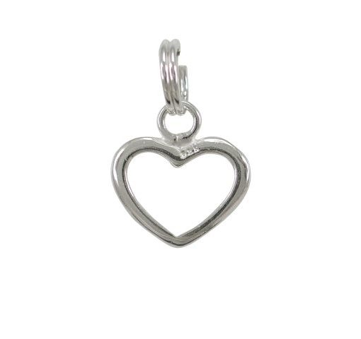 Sterling Silver 11mm Open Heart Charm With Split Ring