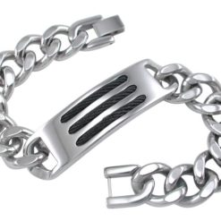 Stainless Steel 15mm Black Wire Inlay Bracelet 21cm