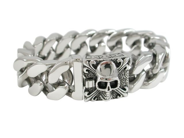 Stainless Steel 20mm Solid Link Skull Clasp Bracelet