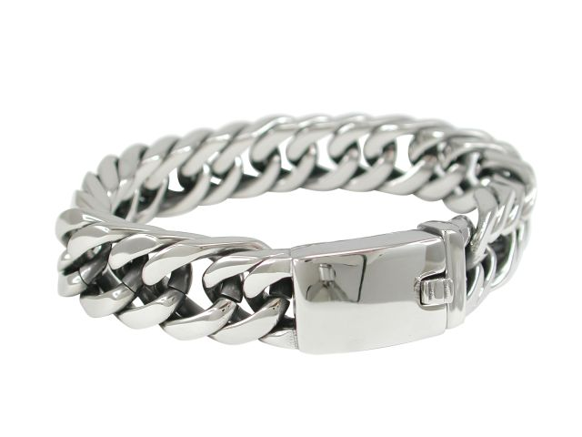 Stainless Steel 15mm Solid Link Bracelet