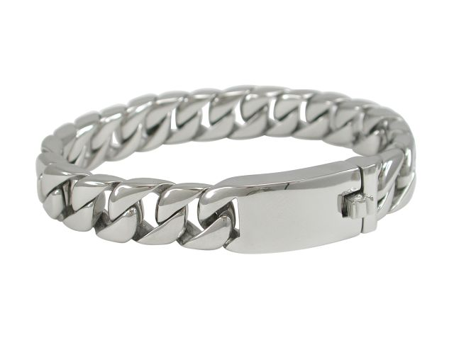 Stainless Steel 12mm Rounded Curb Link Bracelet