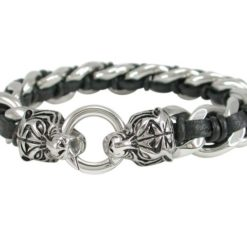 Stainless Steel 15mm Link With Black Plaited Leather And Tiger Head Clasp Bracelet