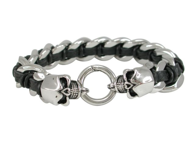 Stainless Steel 15mm Link With Black Plaited Leather And Skull Clasp Bracelet