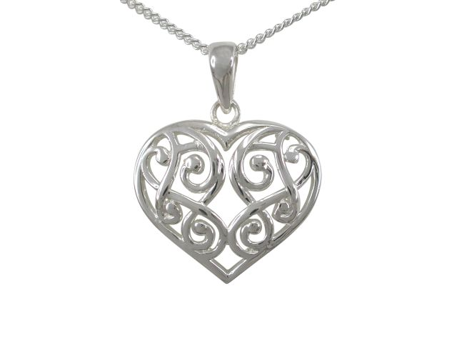 Sterling Silver 20x18mm Filigree Heart Necklet 40-45cm