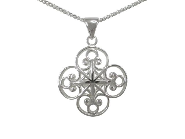 Sterling Silver 20mm Filigree Four Leaf Clover Necklet 40-45cm