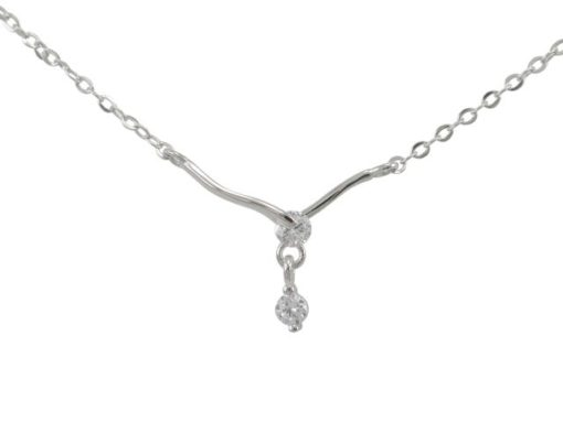 Sterling Silver 20x16mm White Cubic Zirconia Necklet 40-43cm
