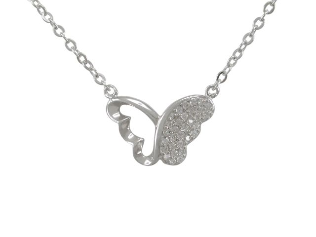 Sterling Silver 16x11mm White Cubic Zirconia Butterfly Necklet 42-45cm