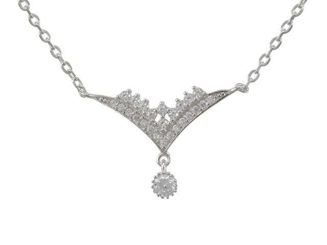 Sterling Silver 24x15mm White Cubic Zirconia Necklet 42-45cm