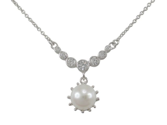 Sterling Silver 20x20mm Cultured Pearl & White Cubic Zirconia Necklet 40-45cm