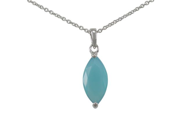 Sterling Silver 15x7mm Marquise Aqua Smokey Glass Necklet 40-45cm