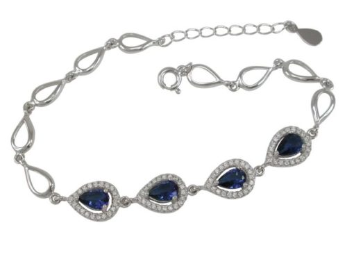 Sterling Silver 8mm Teardrop Blue & White Cubic Zirconia Bracelet 17-19cm
