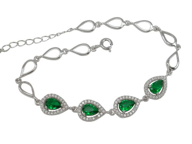 Sterling Silver 8mm Teardrop Green & White Cubic Zirconia Bracelet 17-19cm
