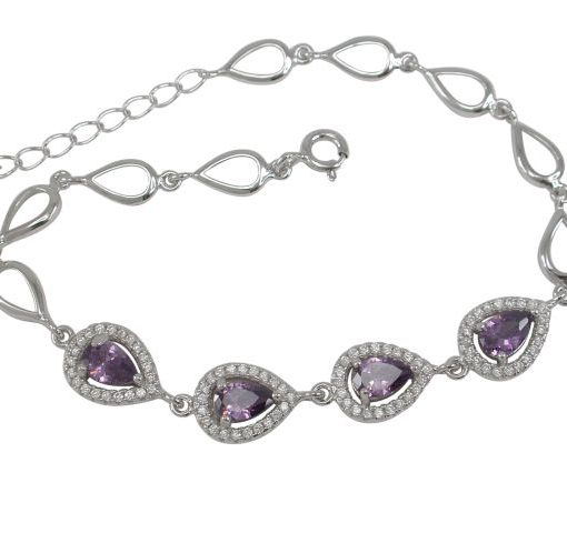 Sterling Silver 8mm Teardrop Purple & White Cubic Zirconia Bracelet 17-19cm