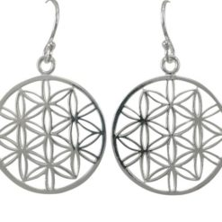Sterling Silver 22mm Round Flower Of Life Drop Earrings