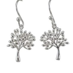 Sterling Silver 15x13mm Tree Of Life Drop Earrings