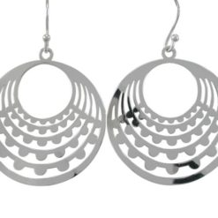 Sterling Silver 30mm Round Drop Earrings